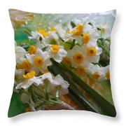 Water Drops On A Bouquet Throw Pillow