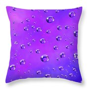 Water Drops On Purple And Blue Throw Pillow