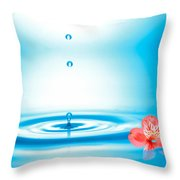 Water Drops Rising From Water Rings Throw Pillow