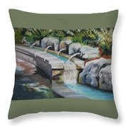 Water Fall In The Gratto Throw Pillow