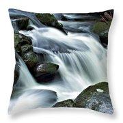 Water Flowsthrough The Mountains Throw Pillow