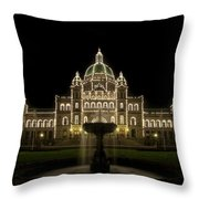 Water Fountain By Parliament Buildings In Victoria Bc Throw Pillow