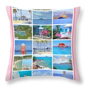 Water Island Poster Throw Pillow