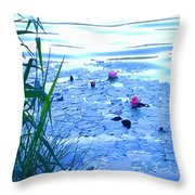Water Lilies Blue Throw Pillow