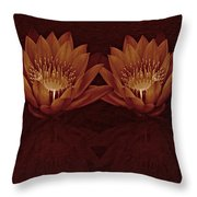 Water Lilies In Deep Sepia Throw Pillow