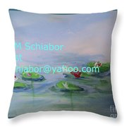 Water Lilies Print Throw Pillow