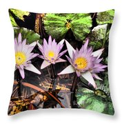 Water Lilies Water Drop And Reflection In Water Throw Pillow