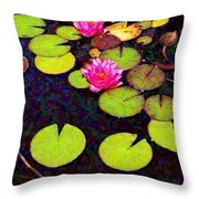 Water Lilies With Pink Flowers - Vertical Throw Pillow