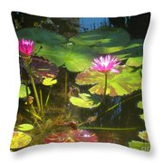 Water Lilly Garden Throw Pillow