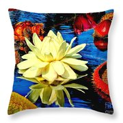 Water Lilly Pond Throw Pillow by Nick Zelinsky