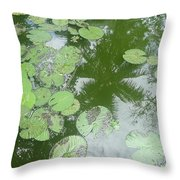 Water Lily Leaves And Palm Trees Throw Pillow