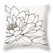 Water Lily Line Drawing Throw Pillow