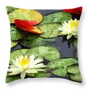 Water Lily Pond In Autumn Throw Pillow