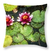 Water Lily Water Color Throw Pillow