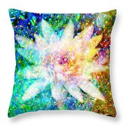 Water Lily With Iridescent Water Drops Throw Pillow