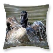 Water Logged - Canadian Goose Throw Pillow