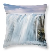 Water Over The Jetty Throw Pillow