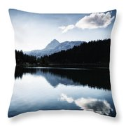 Water Reflection Blue Black And White Throw Pillow