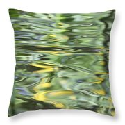 Water Reflection Green And Yellow Throw Pillow by Dan Sproul