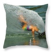 Water Skiing 5 Magic Of Water Throw Pillow