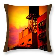 Water Tower With Orange Sunset Throw Pillow