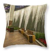 Water Wall - Aria Resort Las Vegas Throw Pillow