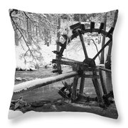 Water Wheel In Snow Throw Pillow