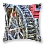 Water Wheel On Mill Throw Pillow