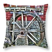Water Wheel On Mill V2 Throw Pillow