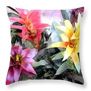 Watercolor And Ink Sketch Of Colorful Bromeliads Throw Pillow