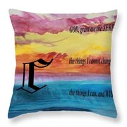 Watercolor C And Serenity Prayer Throw Pillow