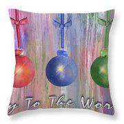 Watercolor Christmas Bulbs Throw Pillow