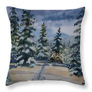 Original Watercolor - Colorado Winter Pines Throw Pillow