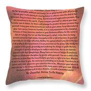 Watercolor Desiderata On Fuchsia Strokes Throw Pillow