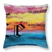 Watercolor E And Serenity Prayer Throw Pillow