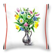 Watercolor Flowers Bouquet In Metal Pitcher Impressionism Throw Pillow
