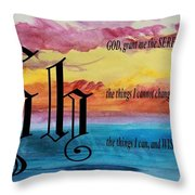 Watercolor H And Serenity Prayer Throw Pillow