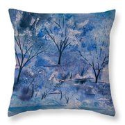 Watercolor - Icy Winter Landscape Throw Pillow