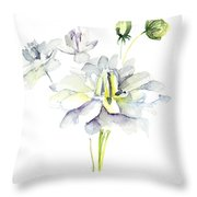 Watercolor Illustration With Beautiful Flowers  Throw Pillow