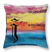 Watercolor J And Serenity Prayer Throw Pillow