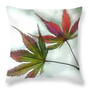 Watercolor Japanese Maple Leaves Throw Pillow