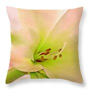 Watercolor Lily Bloom Throw Pillow