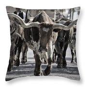 Watercolor Longhorns Throw Pillow