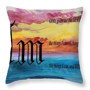 Watercolor M And Serenity Prayer Throw Pillow