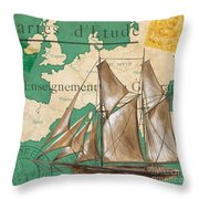 Watercolor Map 1 Throw Pillow