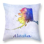 Watercolor Map Of Alaska      United States Throw Pillow