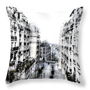 Watercolor Montmartre Throw Pillow