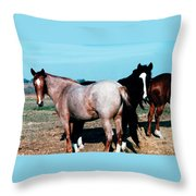Watercolor Mustangs Throw Pillow