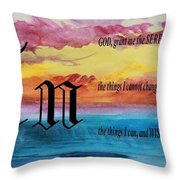 Watercolor N And Serenity Prayer Throw Pillow