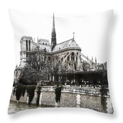 Watercolor Notre Dame Throw Pillow